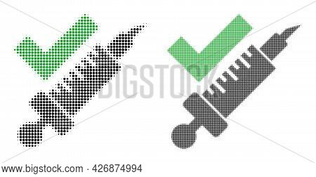 Dotted Halftone Vaccination Icon. Vector Halftone Composition Of Vaccination Icon Designed Of Spheri