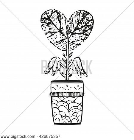 Hand Drawn Abstract Fantasy Plant. Grunge Image. Freehand Heart In A Pot On Isolated White Backgroun