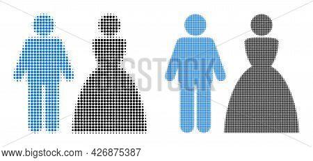 Pixelated Halftone Wedding Couple Icon. Vector Halftone Concept Of Wedding Couple Pictogram Construc