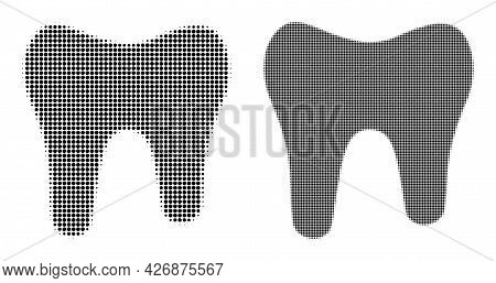 Pixelated Halftone Tooth Icon. Vector Halftone Collage Of Tooth Pictogram Made Of Round Pixels.