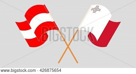 Crossed And Waving Flags Of Malta And Austria