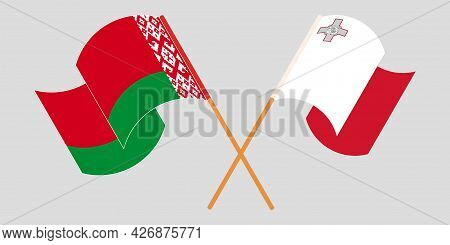 Crossed And Waving Flags Of Malta And Belarus