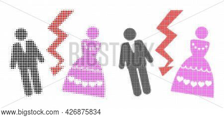 Dot Halftone Divorce Persons Icon. Vector Halftone Mosaic Of Divorce Persons Icon Created Of Spheric