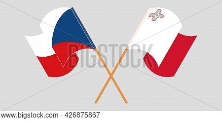 Crossed And Waving Flags Of Malta And Czech Republic
