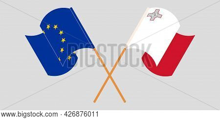 Crossed And Waving Flags Of Malta And The Eu