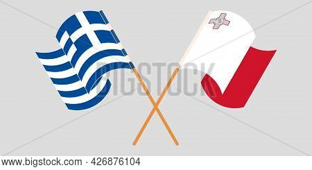 Crossed And Waving Flags Of Malta And Greece