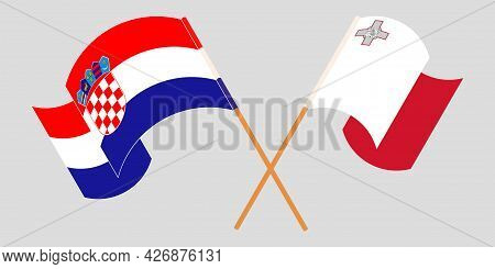 Crossed And Waving Flags Of Malta And Croatia