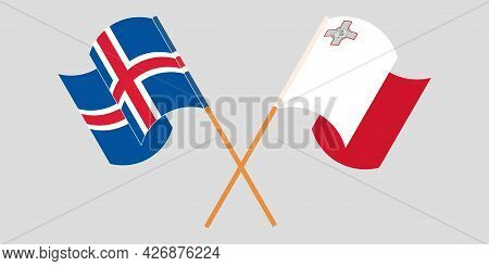 Crossed And Waving Flags Of Malta And Iceland