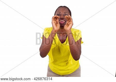 Young Emotional And Casual Woman Shouting On White Background. Human Emotions, Concept Of Facial Exp