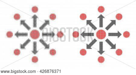 Dot Halftone Expansion Icon. Vector Halftone Collage Of Expansion Icon Composed Of Spheric Points.