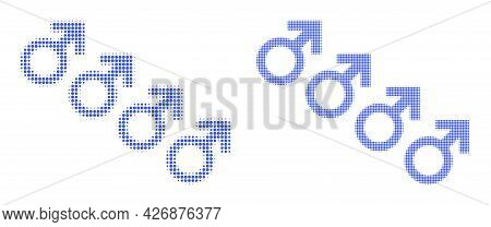 Dotted Halftone Male Cohort Symbol Icon. Vector Halftone Mosaic Of Male Cohort Symbol Organized Of S