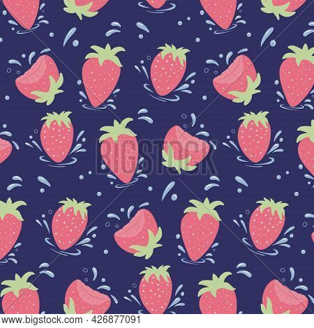 Seamless Pattern Of Fresh Strawberries. Strawberries With Water Drops. Vector Cartoon Background.