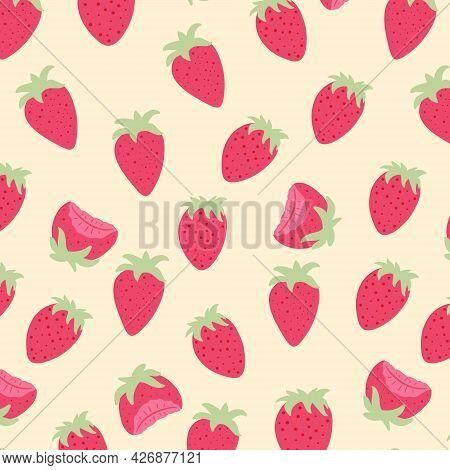 Seamless Pattern Of Fresh Strawberries. Vector Cartoon Background.