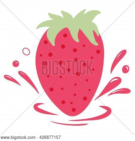 Strawberries With Drops Of Strawberry Juice. Vector Illustration In Cartoon Style.
