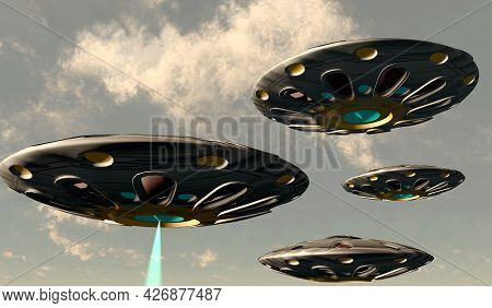 Flying Saucers 3d Illustration - A Plasma Beam Shoots Down Through The Clouds From One Of A Convoy O