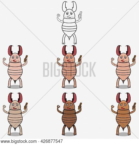 Six Skin Colors Ugly Termite White Wood Mascot Character, White Colors Background, Vector And Illust