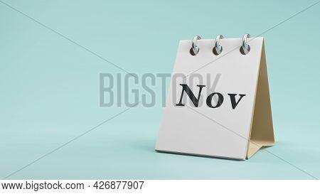 Nov On  Paper Desk  Calendar  3D Rendering
