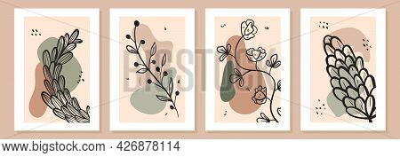 Set Of Simple Vector Art Posters In White Frame. Doodle Line Art Twigs With Leaves, Flower Buds And