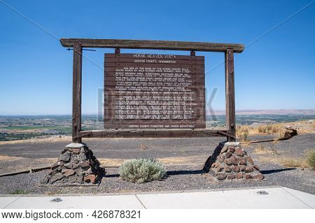 Benton County, Washington - July 6, 2021: Horse Heaven Vista Scenic Overlook, A Rest Area Where Wild