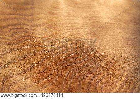 Varnished Oak Board Background, Natural Wooden Texture, Close-up.