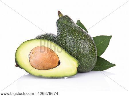 Avocado ,half Avocado Isolated On White Background