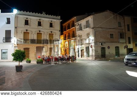 Orba Spain - August 26 2016; Typically Mediterranean Diners In Small Spanish Town Dining In Street.a