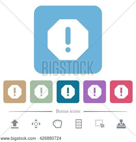 Octagon Shaped Error Sign White Flat Icons On Color Rounded Square Backgrounds. 6 Bonus Icons Includ