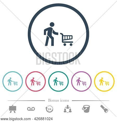 Shopping Person With Cart Flat Color Icons In Round Outlines. 6 Bonus Icons Included.