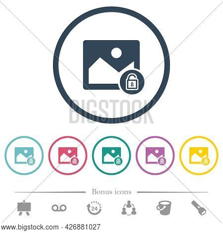 Unlocked Image Flat Color Icons In Round Outlines. 6 Bonus Icons Included.