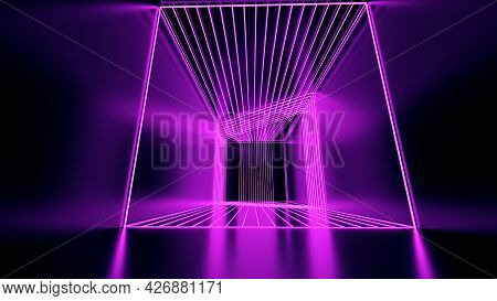 3d Rendering, Abstract Pink Neon Lines, Geometric Shapes, Virtual Space, Empty Room, Ultraviolet Lig