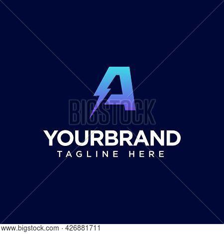 Letter A Electric Logo, Vector Illustration Design Logo Template