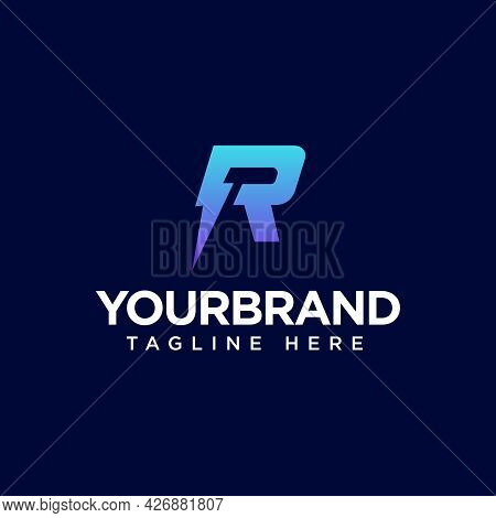 Logo Letter R Electricity Icon With Vector Illustration