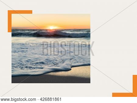 Photograph of sea and sunset at the beach against grey background. summer holiday and vacation concept