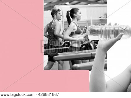 Mid section of woman drinking water over man and woman running on treadmill against pink background. sports and fitness concept