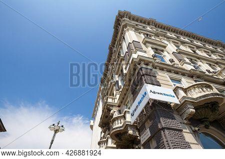 Rijeka, Croatia - June 18, 2021: Agram Banka Logo On Their Rijeka Office. Agram Banka, Formerly Kred