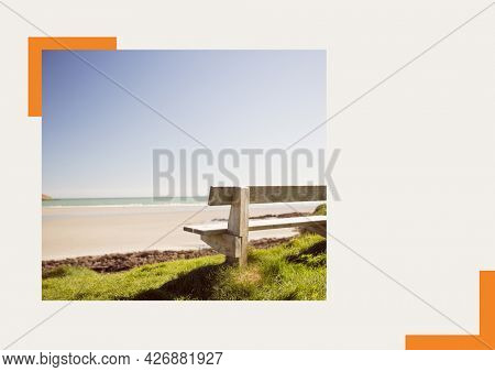 Photograph of a bench at the beach against grey background. summer holiday and vacation concept