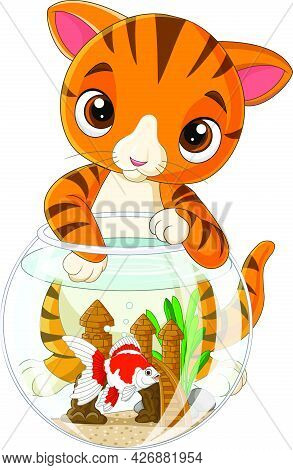Vector Illustration Of Cartoon Striped Cat With Goldfish In Fishbowl
