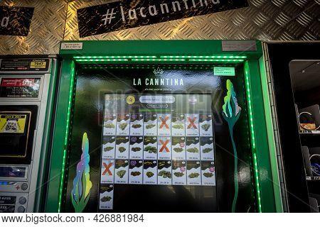 Zagreb, Croatia - June 19, 2021: Selective Blur On A Cbd Vending Machine, An Automat To Select The C
