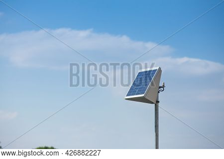 Dual Individual Solar Panel In A Natural Environment With A Summer Blue Sky And Sunny Weather, Used