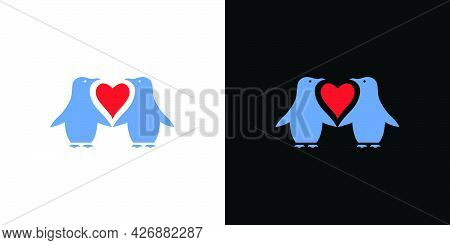 Illustration Of 2 Pairs Of Romantic And Cute Penguins