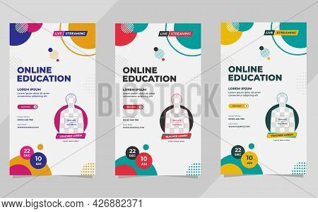 Set Of Minimalist Social Media Stories Post Template For Online Education With Geometric Background