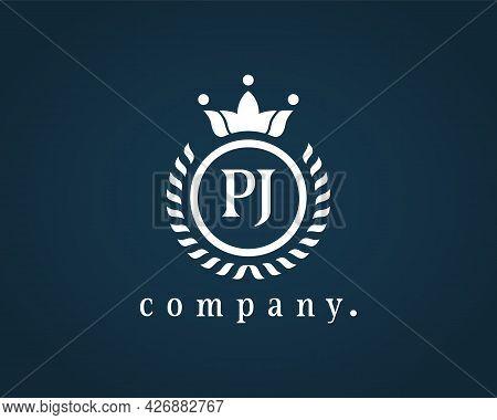 Letter Pj Laurel Wreath Monogram Template. Beautiful Crown Logo For Royalty, Business Card, Boutique