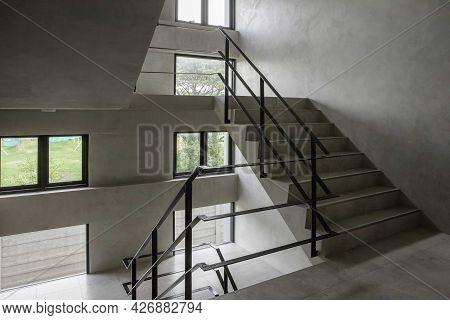 Concrete Fire Escape Stairs Inside The Building