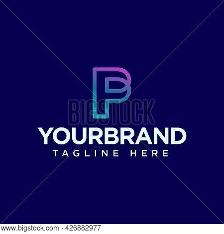 Vector Graphic Creative Line Alphabet Symbol. Letter P