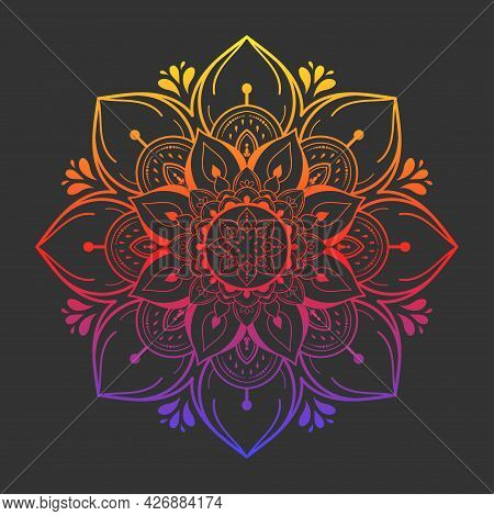 Circle Pattern Petal Flower Of Mandala With Black And White,vector Floral Mandala Relaxation Pattern