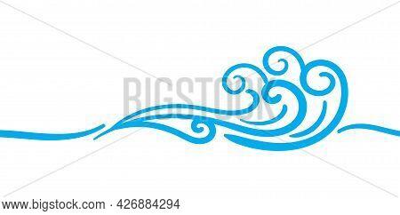 Water Wave Art Line, Water Wave Ocean Graphic Symbol, Water Splash Ripples Light Blue, Ocean Sea Sur