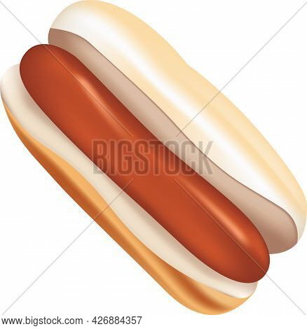 Classic Hot Dog - A Standard Sausage Between Two Halves Of A Roll