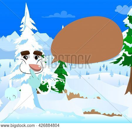 Cartoon Winter Pine Trees With Faces Holding Finger Front Of His Mouth. Cute Forest Trees. Snow On P