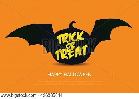 Happy Halloween Trick Or Treat With Black Pumpkin With Bat Wings  On Orange Background, Vector Illus