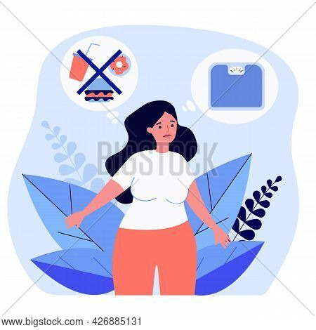 Sad Overweight Woman Thinking About Dieting And Scales. Fat Female Giving Up Junk Food Flat Vector I